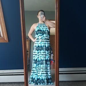 Navy,green,turquoise full length sun dress